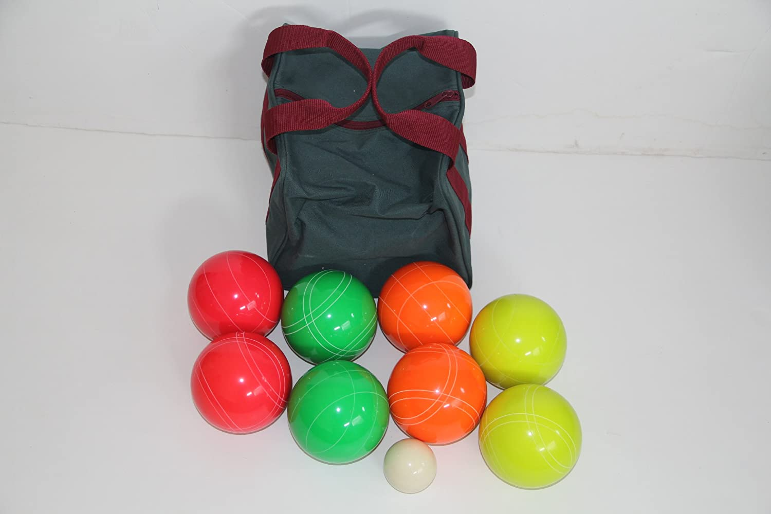 Premium Quality EPCO GLO Tournament Bocce Set  107mm Green, Red, Yellow, orange Bocce Balls [Toy]