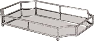 Kate and Laurel Ciel Metal Mirrored Ornate Scalloped Decorative Tray, Silver