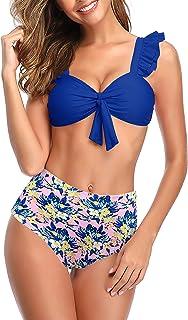 SHEKINI Mujer Bikini Dividido Traje de Baño de Dos Piezas Estampado de Cintura Alta Bañador