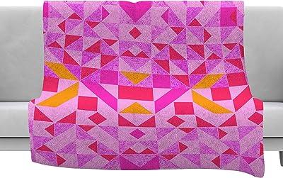 40 x 30 Fleece Blanket Kess InHouse Kess Original Red Lace Agate Orange Abstract Throw