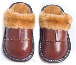 Asunflower Kids House Slippers Closed Toe Leather Indoor Slippers Fur Lining Winter Home Shoes for Little Kid, Big Kid