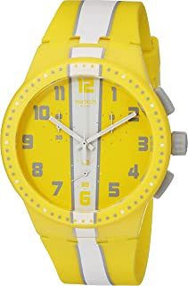 Swatch Unisex SUSJ100 Amorgos Analog Display Quartz Yellow Watch