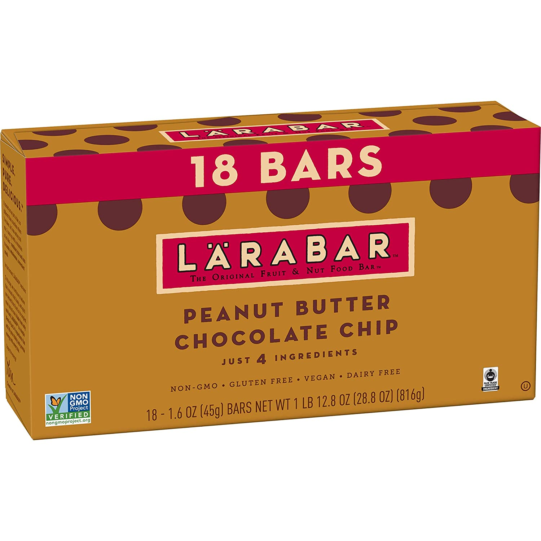 LÄRABAR Peanut Butter Chocolate Chip, Gluten Free Vegan Fruit & Nut Bar, 1.6 oz Bars, 18 Ct