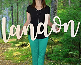 """Custom Personalized Wooden Name Sign 12-55"""" WIDE - LANDON Font Letters Baby Name Plaque PAINTED nursery name nursery decor wooden wall art, above a crib"""