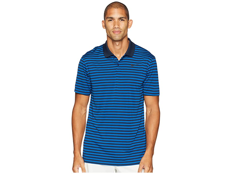 Nike Golf Dri-FITtm Mini-Stripe Victory Polo (Gym Blue/Obsidian/Black) Men