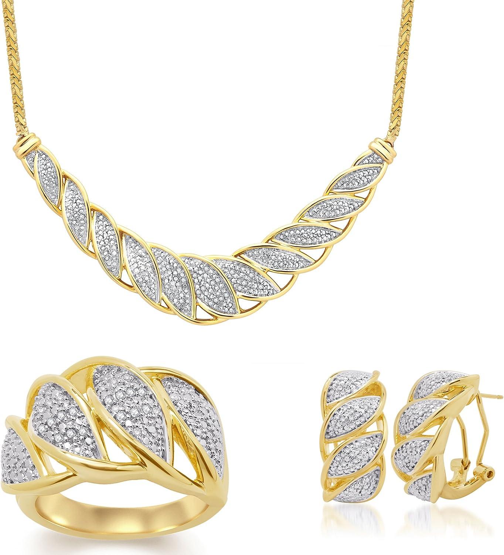 1/4 Cttw Diamond leaf overlay 3 Piece Jewelry Set