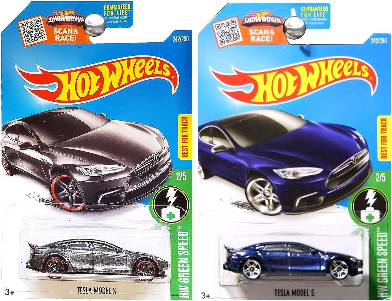 Hot Wheels 2016 Blau and Dark grau Tesla Model S 2-Car Set