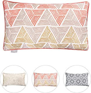 Hahadidi Throw Pillow Covers Home Decorative Pillowcases Geometric Cushion Cover for Couch/Bed/Sofa, Cotton Crewel Embroidery,Orange/Yellow 14 x 24 Inch(35x60cm)