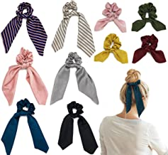 Chele's Bowtique 10 pack elastic hair ties with 4 bow scrunchies and 6 hair scarf ponytail holder silk satin hair accessories for women and girls