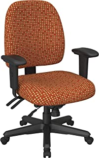 Office Star Back Mid Ergonomic Office Desk Chair with Adjustable Height, Tilt, and Padded Arm Rests, Fine Tune Tangelo Fabric