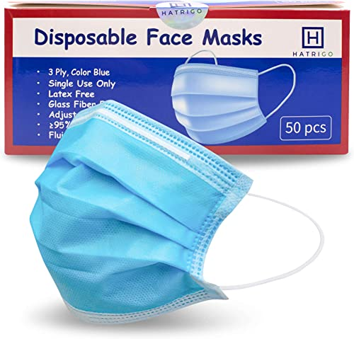 Hatrigo Disposable Face Masks, Upgraded Packaging with 5 Sealed Bags of 10 Face Masks, Breathable Adjustable Face Mas...