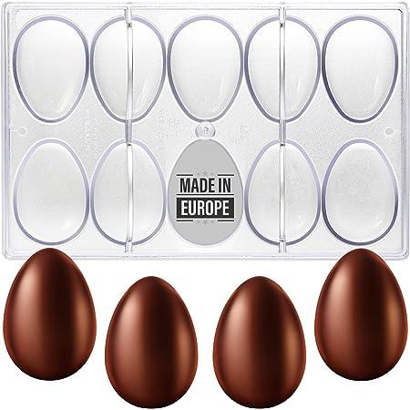Crystalia Moldes de policarbonato para huevos y chocolate, 10 cavidades transparentes 3D independientes para bricolaje