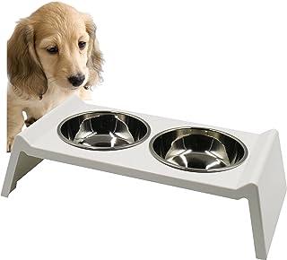 PET LALA (ペットララ) 犬 猫用 食器 スタンド 食事台 ステンレス製 えさ皿 餌 水 容器 食器台 セット おしゃれ スタイリッシュ 食べやすい 設計 (ホワイト)