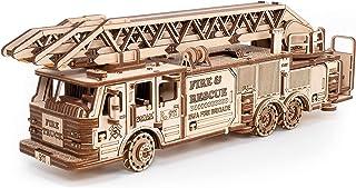 EWA Eco-Wood-Art - 3D-houten puzzel voor jongeren en volwassenen - brandweerauto - doe-het-zelf-bouwpakket, zelfmontage, g...