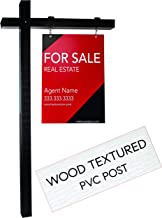 Realty Supply Pro Real Estate Sign Post - 1000's Installed - Hang for Sale Signs - Commercial Grade Yard Sign Holder - PVC Textured Wood Appearance - 6 ft. Tall (Black)