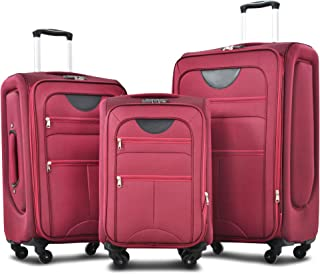 Merax Softside Expandable Luggage Sets, Softshell Lightweight 3 Piece Set Suitcase with Spinner Wheels TSA Lock
