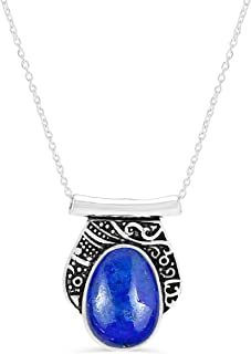 MIRRAMOR Colgante de lapislázuli natural de labradorita de 13 x 18 mm con forma de huevo de piedra preciosa de plata 925 c...