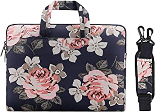 MOSISO Laptop Shoulder Bag Compatible with 13-13.3 Inch MacBook Pro, MacBook Air, Notebook Computer, Ultraportable Protective Canvas Rose Pattern Carrying Handbag Briefcase Sleeve Case Cover, Dark Blue