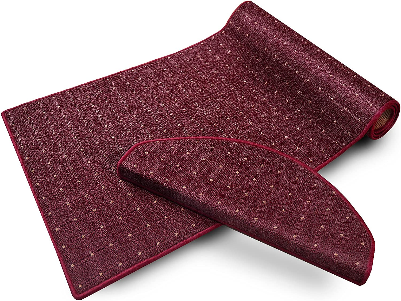 Casa pura Teppich Läufer in zahlreichen Größen     mit Punkt Muster   GUT-Siegel, Made in Germany   kombinierbar mit Stufenmatten   Flieder Bordeaux rot (Größe  100x275 cm) B01F96BUVC 37620c
