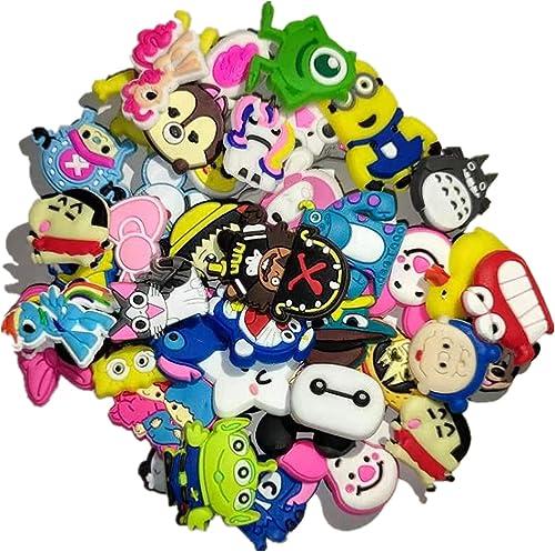 50 Pcs Different Shoe Charms for Croc Shoes & Bracelet Wristband Kids Party Birthday Gifts, Bijoux de chaussures Méla...