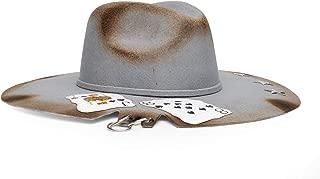 Monna Vintage Sombrero de Lana Color Gris intervenido con Fuego, Estrellas, Cartas y Cortes con argollas