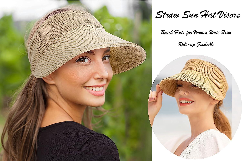 Livingston Beach Hats for Women Wide Brim Roll-up Foldable Straw Sun Hat Visors