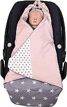 ULLENBOOM  Einschlagdecke Babyschale Rosa Grau Made in EU - Babydecke für Autositz z.B. Maxi Cosi , Babywanne oder Kinderwagen, ideale Decke für Babys 0 bis 9 Monate