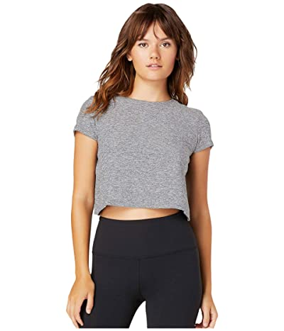 Beyond Yoga Back Out Cropped Tee (Silver Mist) Women