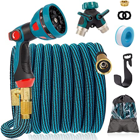 """IDEALHOUSE 100FT Expandable Garden Hose, 10 Function Spray Gun with 3/4"""" Solid Brass Fittings, 2-Way Pocket Flexible Splitter, 3 Times Expanding Water Pipe No-Kink Flexible Water Hose"""