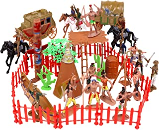 56 Pcs Plastic Indian Figures Playset Toy Native American Figures with Horse, Tent, Totem etc. Wild West Cowboy Miniature ...