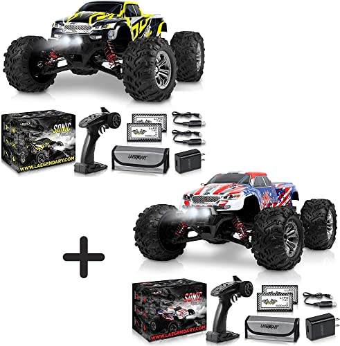 high quality 1:16 Scale Large RC Cars 40+ kmh Speed - Boys online sale Remote discount Control Car 4x4 Off Road Monster Truck Electric - All Terrain Waterproof Toys Trucks for Kids and Adults - Black-Yellow and Patriot Bundle Pack outlet online sale