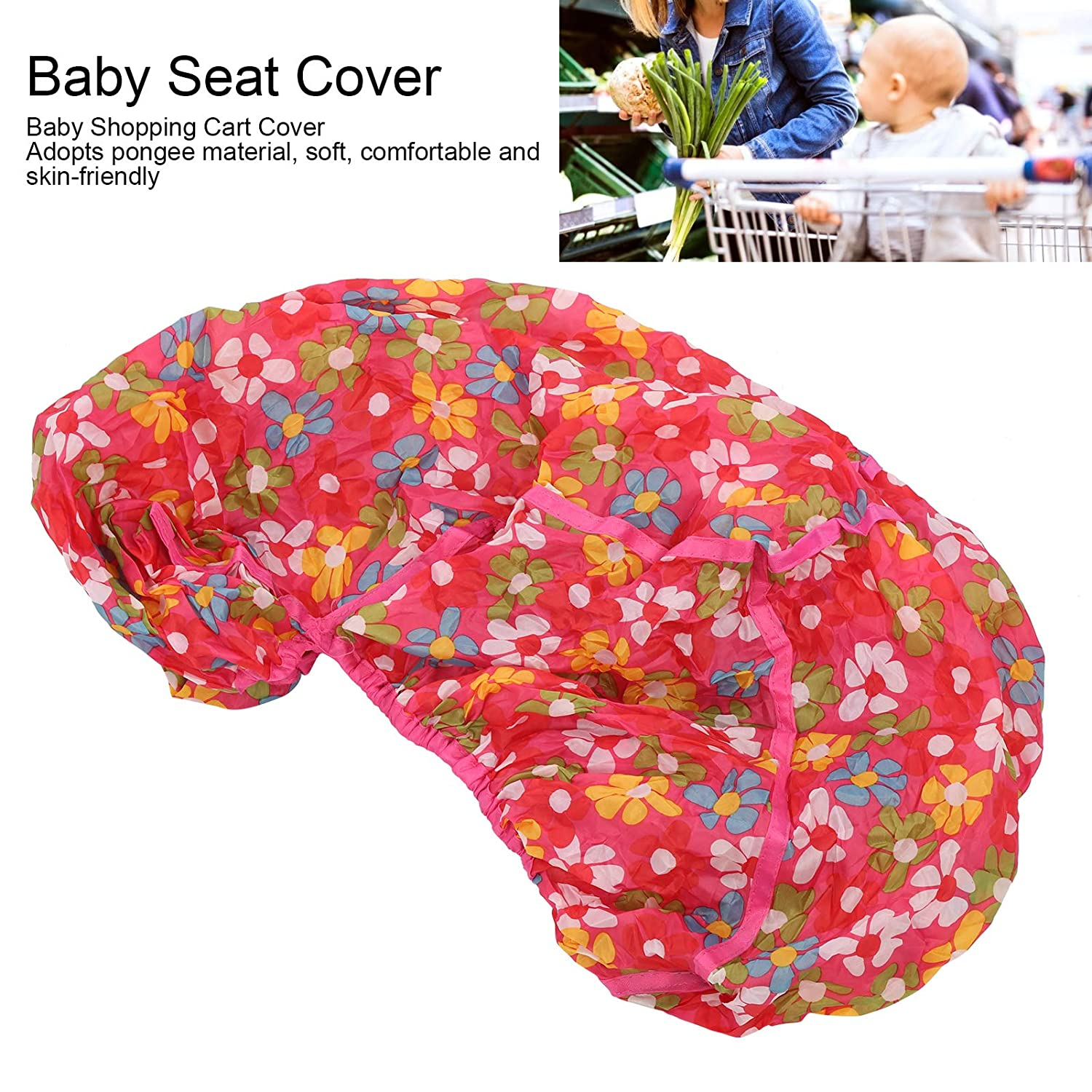 Baby Chair Cushion, Shopping Cart Cover, Soft Universal Environmentally Friendly Portable Safe for Infant Baby Kids(Red Floral)