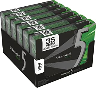 5 Gum Sugarfree Gum, Spearmint Rain, 35-stick pack (6 packs total).
