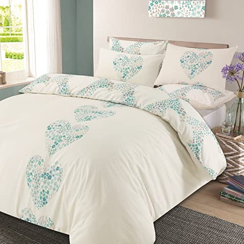 c4eb036b4e76 Dreamscene Duvet Cover with Pillow Case Reversible Lizzie Hearts Bedding  Set Duck Egg Blue - Double