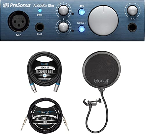 new arrival PreSonus AudioBox iOne 2x2 outlet sale USB/iPad Audio Interface for Mac, Windows, iOS Bundle with online sale Blucoil 10-FT Balanced XLR Cable, Pop Filter Windscreen, and 10-FT Straight Instrument Cable (1/4in) online sale