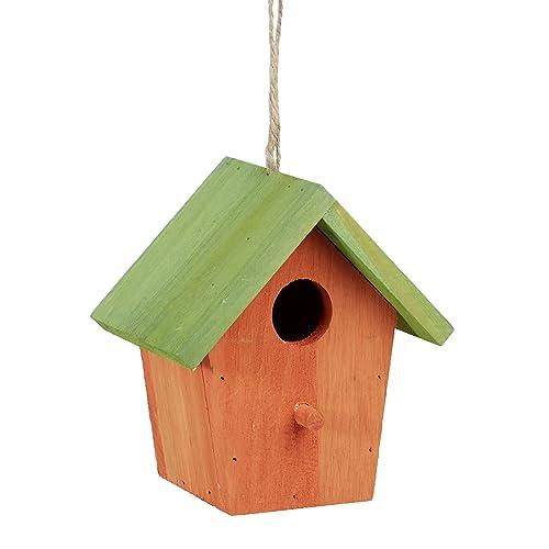 Relaxdays Colorido Deco casa para pájaros, de Madera, comedero para pájaros, para Colgar