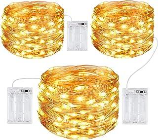 Gritin Guirnalda Luces, [3 PCS] 10M/100 LED Guirnalda Luces LED Exterior Impermeable Cadena Luces de Cálida Amarilla Luces...