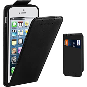 iPhone SE Case, Supad Leather Flip Wallet Slim Case Cover for Apple iPhone SE 5S 5 (Black)