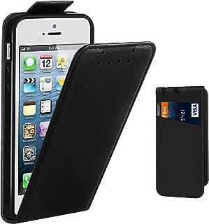 Funda iPhone 5, Supad Funda para Apple iPhone 5 / 5S / SE Flip Case para móvil en cuero sintético (Negro)