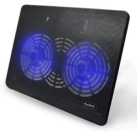 Ewent EW1256 Supporto con Sistema di Raffreddamento per Notebook, MacBook 12 / 15.6 / 17 pollici con 2 Ventole Silenziosa e Luce LED