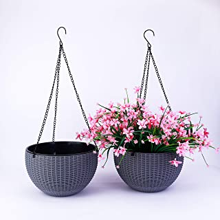 2-Pack 10.2 Inches Grey Self- Watering Absorption Plastic Rattan Dual-pots Design Hanging Planter Round Basket Flower Plant Hanging Basket for Home Office Porch Balcony Wall Indoor Outdoor Decora