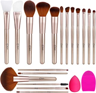 BESTOPE Makeup Brushes 18PCS Premium Synthetic Professional Makeup Brush set with Silicone Face Mask Brush 1 Makeup Sponge and 1 Brush Cleaner Foundation Brushes Blending Shadows Brushes (Champagne gold)