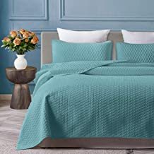 VEEYOO Quilt Set Coverlet Twin - Soft Microfiber Lightweight Coverlet Quilt for All Season, Twin Quilt Set Bedspread (1 Quilt, 1 Pillow Sham, Turquoise)