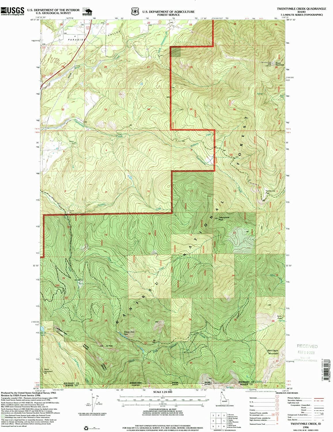 Twentymile Creek ID topo map, 1 24000 Scale, 7.5 X 7.5 Minute, Historical, 1996, Updated 1999, 26.9 x 22 in