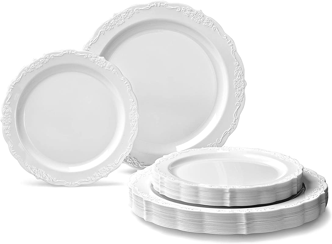 OCCASIONS 240 Plates Pack 120 Guests Vintage Wedding Party Disposable Plastic Plates Set 120 X 10 Dinner 120 X 7 5 Salad Dessert Verona Plain White