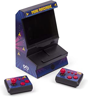 Thumbs Up Orb Mini Arcade Machine med Dual-Controller – inkl. 300 x 8-bitars spel, mörkblå