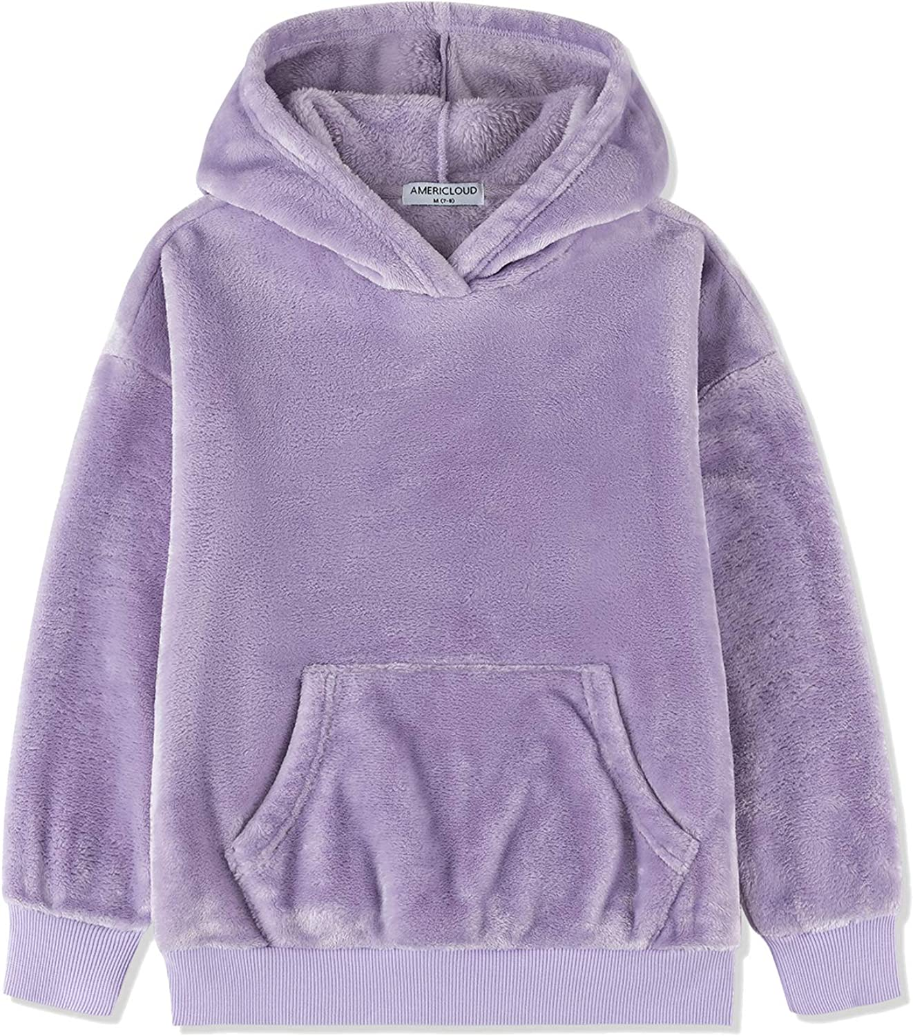 AMERICLOUD Girls Loose Fitting OFFicial mail order Flannel Bargain Pullover Ca Hoodie Sherpa