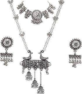 Total Fashion Jewellery Oxidised Silver Latest Desigen Choker Necklace Set with Earring for Women & Girls