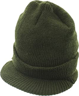 Military Genuine GI Wool Knit Jeep Hat, USN Cold Weather Winter Visor Cap US Made