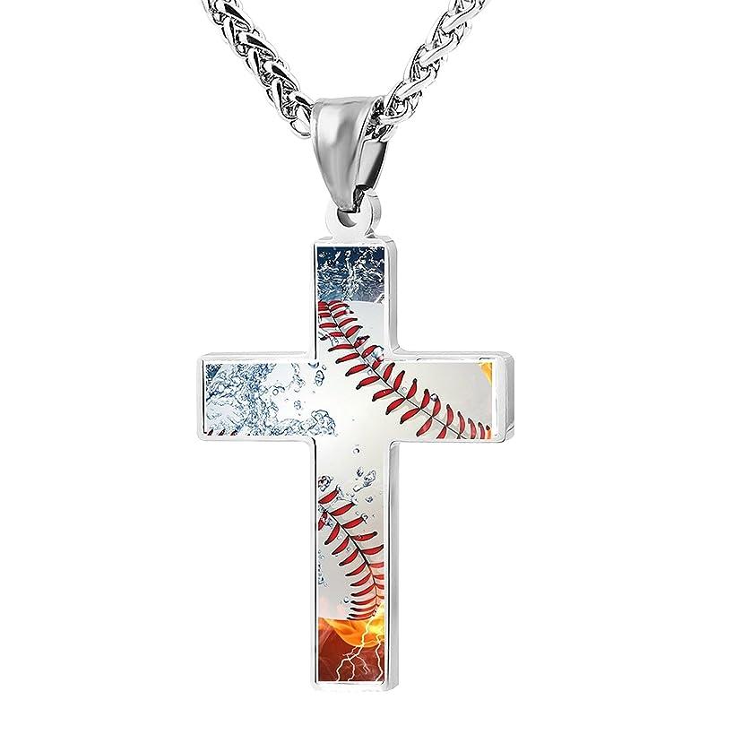 TOP FASHION Baseball Fire Water Cross Pendant Necklace Jewelry for Women Men